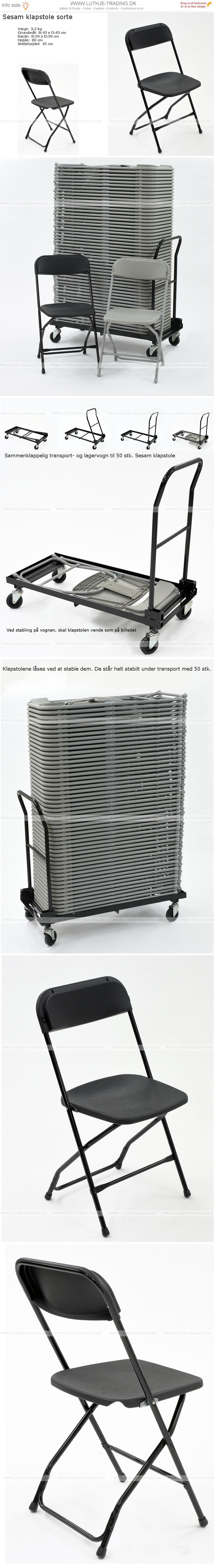 Sorte klapstole der kan stables på vogn