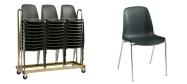 Stabelstole Bertram med krom stel,  grå plastskal og påsvejset metal kobling