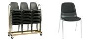 Stabelstole Bertram med krom stel,  koksgrå plastskal og stof på sæde og ryg