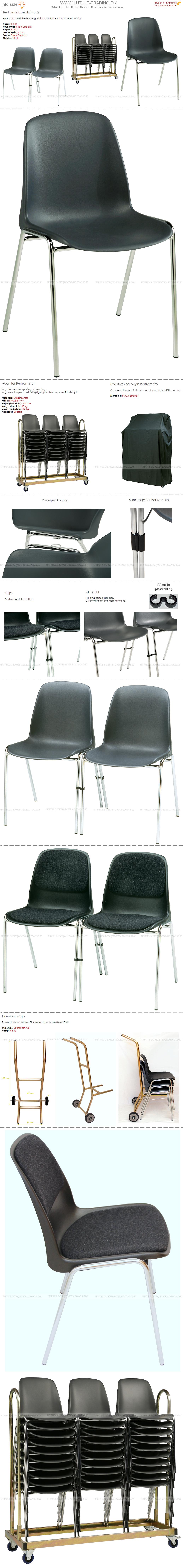 Stabelstole Bertram med krom stel og koksgrå plastskal