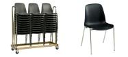 Stabelstole Bertram med krom stel,  sort plastskal og påsvejset metal kobling