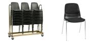 Stabelstole Bertram med krom stel,  sort plastskal og stof på sæde og ryg