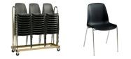 Stabelstole Bertram med krom stel og sort plastskal