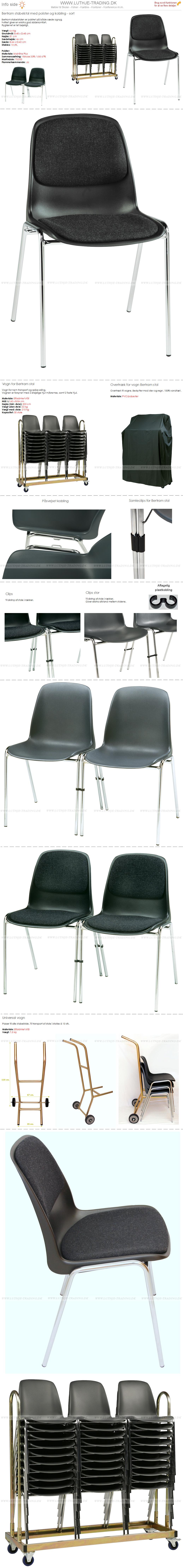 Stabelstole Bertram med krom stel,  sort plastskal, stof på sæde og ryg og påsvejset metalkobling