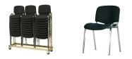 Stabelstole Luxus polster med sort stof med grå nister