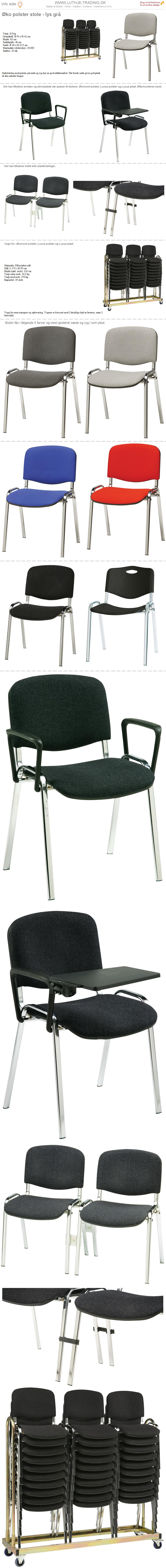 Stabelstole Øko polster med lysegrå stof